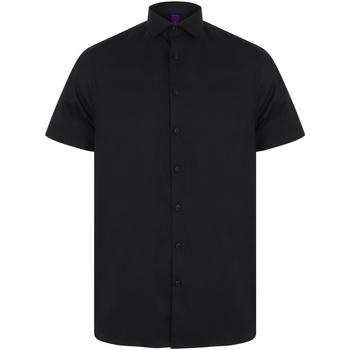 vaatteet Miehet Lyhythihainen paitapusero Henbury HB537 Black