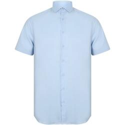 vaatteet Miehet Lyhythihainen paitapusero Henbury HB537 Light Blue