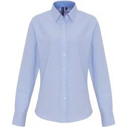 vaatteet Naiset Paitapusero / Kauluspaita Premier PR338 White/Light Blue