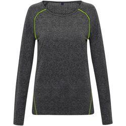 vaatteet Naiset T-paidat pitkillä hihoilla Tridri TR040 Black Melange
