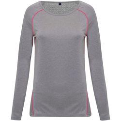 vaatteet Naiset T-paidat pitkillä hihoilla Tridri TR040 Silver Melange