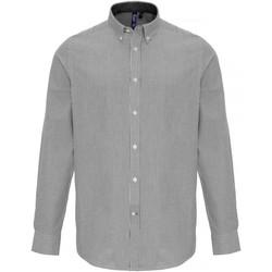 vaatteet Miehet Pitkähihainen paitapusero Premier PR238 White/Grey