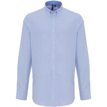 vaatteet Miehet Pitkähihainen paitapusero Premier PR238 White/Light Blue