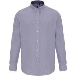 vaatteet Miehet Pitkähihainen paitapusero Premier PR238 White/Navy