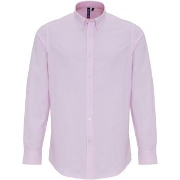 vaatteet Miehet Pitkähihainen paitapusero Premier PR238 White/Pink