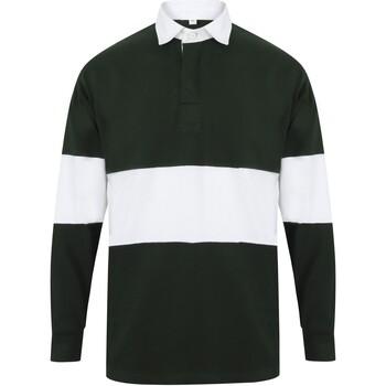vaatteet Pitkähihainen poolopaita Front Row FR07M Bottle Green/White