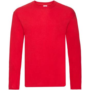 vaatteet Miehet T-paidat pitkillä hihoilla Fruit Of The Loom 61446 Red