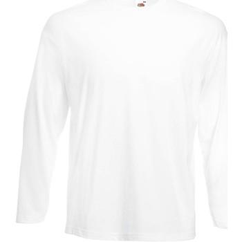 vaatteet Miehet T-paidat pitkillä hihoilla Fruit Of The Loom 61446 White