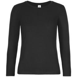 vaatteet Naiset T-paidat pitkillä hihoilla B And C TW08T Black