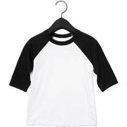vaatteet Lapset T-paidat pitkillä hihoilla Bella + Canvas CA3200Y White/Black