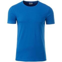 vaatteet Miehet Lyhythihainen t-paita James And Nicholson  Cobalt Blue