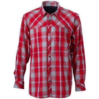 vaatteet Miehet Pitkähihainen paitapusero James And Nicholson  Red/Navy