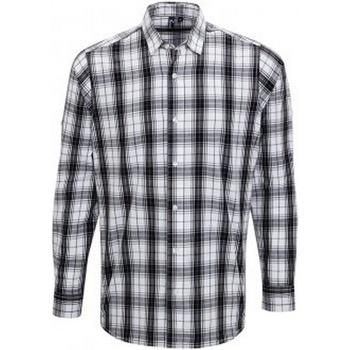 vaatteet Miehet Pitkähihainen paitapusero Premier PR254 Black/White