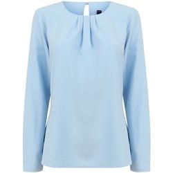 vaatteet Naiset T-paidat pitkillä hihoilla Henbury HB598 Light Blue