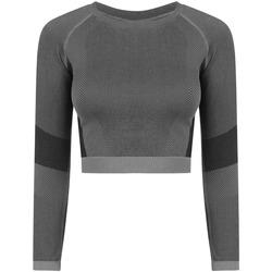 vaatteet Naiset T-paidat pitkillä hihoilla Tombo TL352 Light Grey/Black