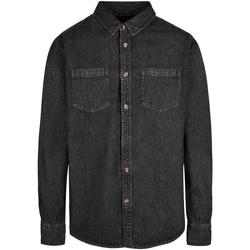 vaatteet Miehet Pitkähihainen paitapusero Build Your Brand BY152 Black
