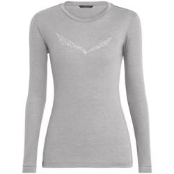 vaatteet Naiset T-paidat pitkillä hihoilla Salewa Solidlogo Dry W L/S Tee 27341-0624 grey