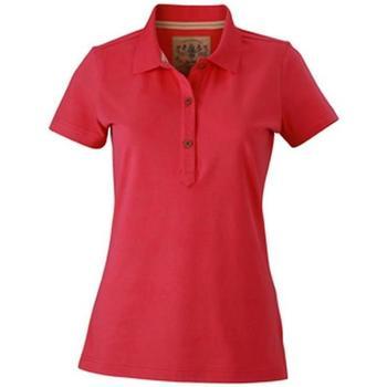 vaatteet Naiset Lyhythihainen poolopaita James And Nicholson  Pink
