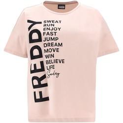 vaatteet Naiset Lyhythihainen t-paita Freddy F1WSDT1 Vaaleanpunainen