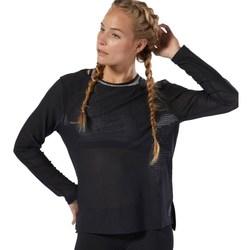 vaatteet Naiset T-paidat pitkillä hihoilla Reebok Sport Crossfit Jacquard Mustat