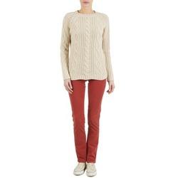 vaatteet Naiset 5-taskuiset housut Kulte PANTALON PLANCHER 101819 ROUGE Red