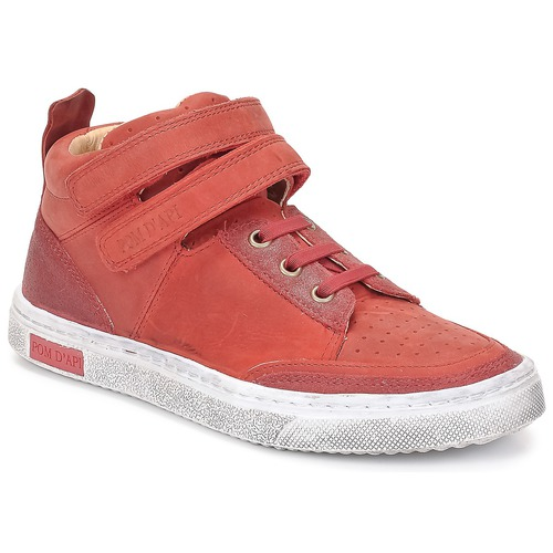 kengät Tytöt Korkeavartiset tennarit Pom d'Api BACK BASKET Red