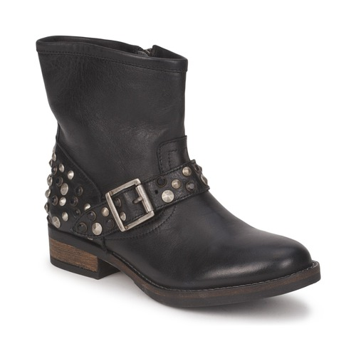 kengät Naiset Bootsit Pieces ISADORA LEATHER BOOT Black