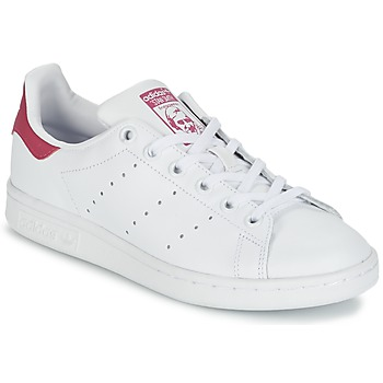 kengät Lapset Matalavartiset tennarit adidas Originals STAN SMITH J White / Pink