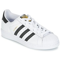 kengät Pojat Matalavartiset tennarit adidas Originals SUPERSTAR White
