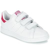 kengät Tytöt Matalavartiset tennarit adidas Originals STAN SMITH CF I Valkoinen / Vaaleanpunainen