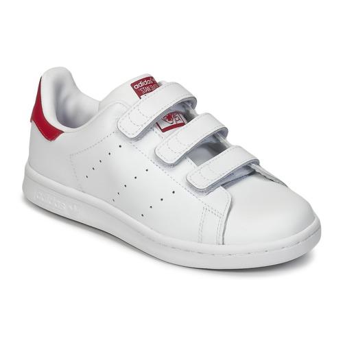 kengät Tytöt Matalavartiset tennarit adidas Originals STAN SMITH CF C White