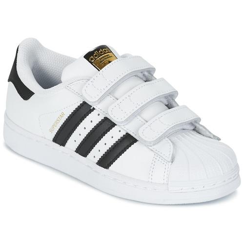 kengät Lapset Matalavartiset tennarit adidas Originals SUPERSTAR FOUNDATIO White / Black