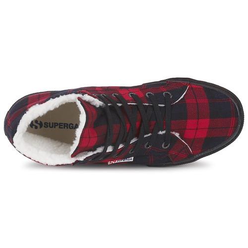 Superga 2095 Red / Black - Ilmainen Toimitus- Kengät Korkeavartiset Tennarit