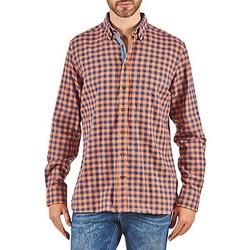 vaatteet Miehet Pitkähihainen paitapusero Hackett SOFT BRIGHT CHECK Orange / Blue