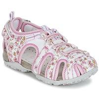 kengät Tytöt Urheilusandaalit Geox S.ROXANNE C White / Pink