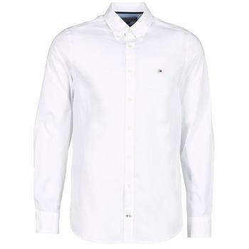 vaatteet Miehet Pitkähihainen paitapusero Tommy Hilfiger STRETCH POPLIN White