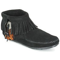 kengät Naiset Bootsit Minnetonka CONCHO FEATHER SIDE ZIP BOOT Black