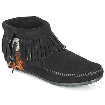 kengät Naiset Bootsit Minnetonka CONCHO FEATHER SIDE ZIP BOOT Musta
