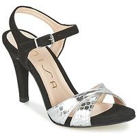 kengät Naiset Sandaalit ja avokkaat Unisa WARIAN Black / Argenté
