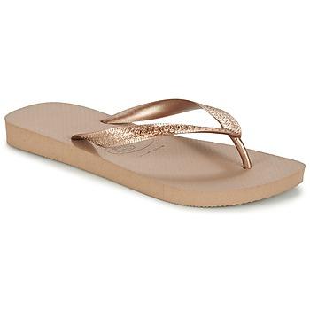 kengät Naiset Varvassandaalit Havaianas TOP METALLIC Pink / Kulta