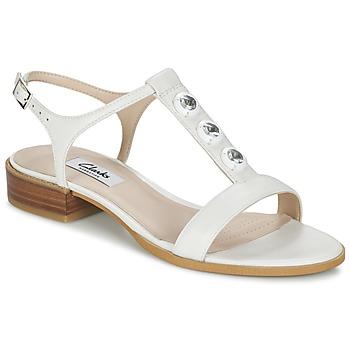 kengät Naiset Sandaalit ja avokkaat Clarks BLISS SHIMMER White