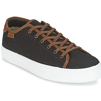 kengät Miehet Matalavartiset tennarit Victoria BASKET LINO DETALLE MARRON Musta / Ruskea