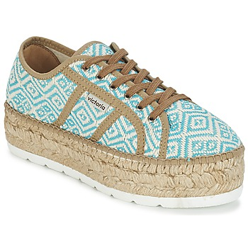 kengät Naiset Matalavartiset tennarit Victoria BASKET ETNICO PLATAFORMA Blue / BEIGE