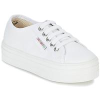 kengät Tytöt Matalavartiset tennarit Victoria BASKET LONA PLATAFORMA KIDS White