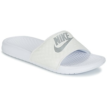 kengät Naiset Rantasandaalit Nike BENASSI JUST DO IT W White / Silver