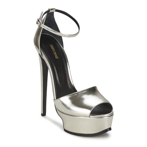 kengät Naiset Sandaalit ja avokkaat Roberto Cavalli XPS260-PZ048 Grey / Hopea