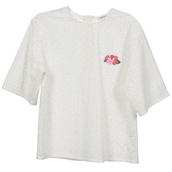 vaatteet Naiset Topit / Puserot Manoush FLOWER BADGE White