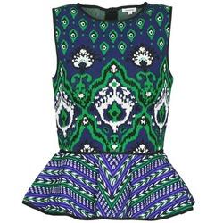 vaatteet Naiset Hihattomat paidat / Hihattomat t-paidat Manoush JACQUARD OOTOMAN Blue / Black / Green