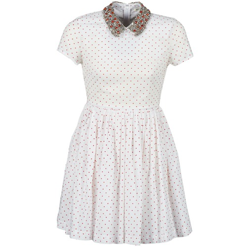 vaatteet Naiset Lyhyt mekko Manoush PLUMETIS STRASS White / Red