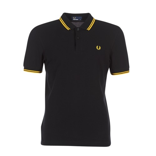vaatteet Miehet Lyhythihainen poolopaita Fred Perry SLIM FIT TWIN TIPPED Black / Yellow